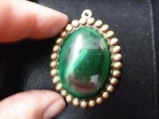 (BR-406) green Malachite gemstone on gold dot trimmed oval brass pin pendant