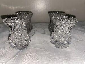 """Vintage Lead Crystal mini vase/toothpick holder Ht. 2.5"""" Sawtooth top edge (4)"""