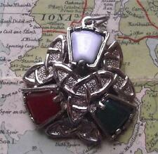 Old Scottish Celtic Silvered Knot Plaid Pendant : Faceted Agate Coloured Stones