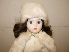 """HOUSE OF LLOYED 1988 DOLL 15"""" TALL BROWN HAIR PORCELAIN"""