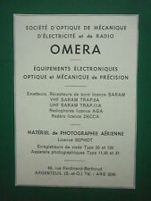 6/1958 PUB OMERA ARGENTEUIL PHOTOGRAPHIE AERIENNE SEPHOT EMETTEUR RECEPTEUR AD