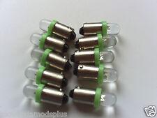 10 Pinball 6.3 Volt LED Green Round Replacement Bulbs 44/47 Bayonet Base (BA9S)