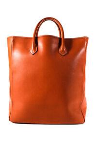 Neiman Marcus Womens Extra Large Orange Leather Tote Handbag