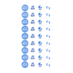 Its a Boy Baby Shower Party Sticker Jungs Aufkleber Blau 108 Stk 4 Motive
