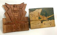 WWII Folk Art Carved Wood Victory Eagle + Pyrography Airplane Plaque Old Paint