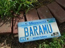 Vintage 2000 Minnesota Vanity License Plate # BARAMU, personalized