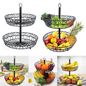 2 Tier Fruit Basket Holder Rack Vegetable Bowl Storage Stand Tray Dining Table