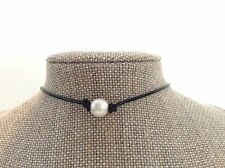 """14"""" Black Leather Pearl Choker, Leather Pearl Choker, Birthday Gift For Her"""