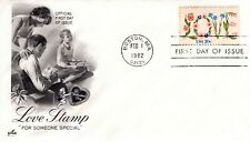 1982 COMMEMORATIVE 20 CENT LOVE STAMP ART CRAFT CACHET UNADDRESSED FDC