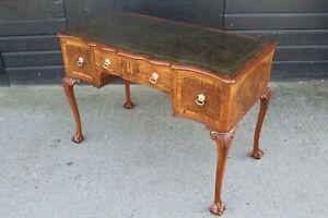 Wylie & Lochead Burr Walnut Queen Anne style leather Writing Table / Desk