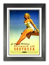 Portsmouth And Southsea British Railway Sexy Lady Photo Vintage Retro Old Poster