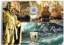 5 Euromunt Michiel de Ruyter + Zegels in Map BU  SET NUMISBRIEF