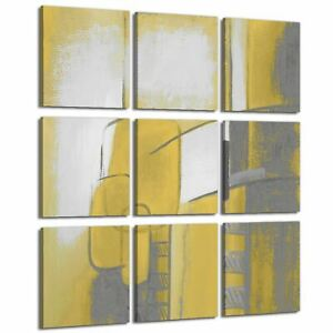 Abstract Mustard Yellow Grey Illustration Canvas Gallery Wall Art Picture