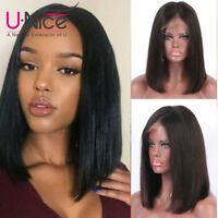 UNice Short Bob Style Lace Front Wig With Baby Hair Brazilian Human Hair 8A
