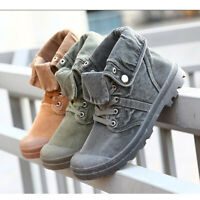 US Men's High Top Canvas Skateboard Boots Casual Mid-Calf Flanging Ankle Shoes