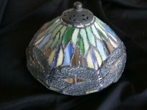 ANTIQUE TIFFANY DRAGONFLY LAMP SHADE FOR MUSHROOM TABLE LAMP