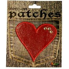 Wholesale Lot Of 10 Red Heart W/ 3 jewels Iron On Applique Patches