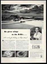 1942 Vintage Print Ad 40's elgin watch B-25 airplane art illustration WWII war