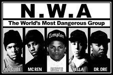 NWA Poster - B&W RAP Group Full Size Print - Ice Cube Dr Dre Eazy E MC Ren Yella