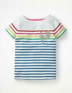 NEW MINI BODEN GIRLS 4 5 6 YEARS WHITE STRIPE SLOTH APPLIQUE JERSEY T SHIRT TOP