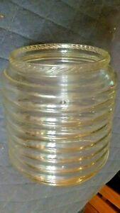 """VINTAGE SELLERS HOOSIER RIBBED GLASS JAR 5 3/4"""" ROPE TRIM RIM 7"""" Dia x7 1/2""""tall"""
