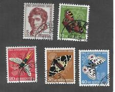SWITZERLAND 1955 COMPLETE SET of 5 SEMI-POSTAL ; USED; INSECTS; Sc# B247-B251