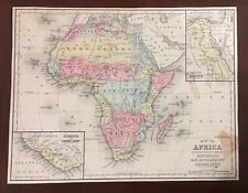1876 Hand Colored Map Mitchells Engraved Africa Egypt Liberia  Madagascar