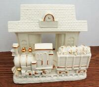 LENOX TRAIN At The Station Votive Tealight Candle Holder Porcelain W/ Gold Trim