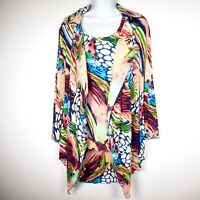 2-pc Rossi Roma Womens M Pleated Tunic Crinkle Open Topper Blouse Jacket + Tank