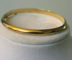 14K Yellow Gold over Sterling Silver Polished Bangle Bracelet with Safety Chain