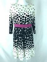 Eliza J Dress A Line Pleated Polka Dot 3/4 Sleeve Black White Pink Size 6