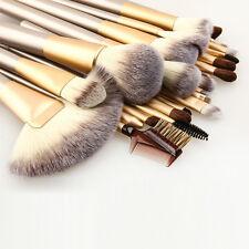 24pcs Gold Makeup Brushes Synthetic Hair Pro Luxury Cosmetic Brush Set US Supply
