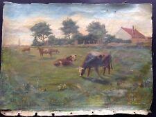 """Peinture Ancienne, Huile Sur Toile, """"Les Vaches"""""""
