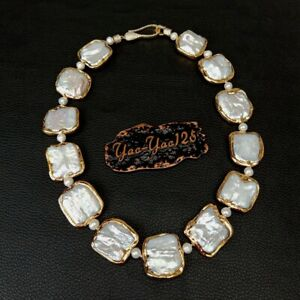 """18.5"""" White Square Keshi PearlGold plated Necklace"""