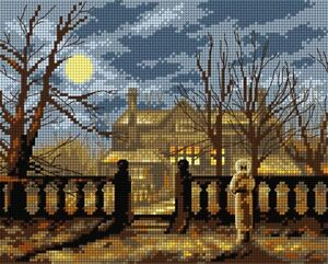"""""""Lady in a Garden by Moonlight""""  Printed Canvas or Threads Kit Needlepoint 2649H"""