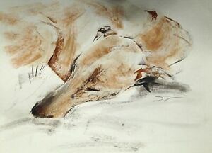 Original signed Ink sketch of a Whippet Greyhound Lurcher