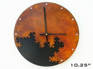 Retro Wall Clock / Rustic Country Home Southwestern Decor / Puzzle III