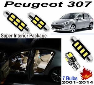 7 Lights Xenon White Car LED Full Interior Light Kit For Peugeot 307 2001-2014