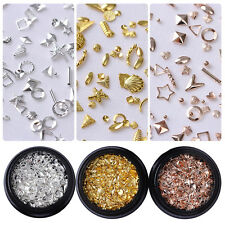 Rose Gold Rivet Nail Studs Stickers Star Shell Round  3D Nail Decoration