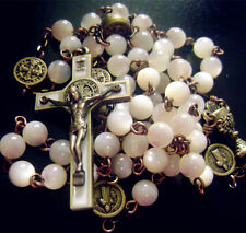 Vintage Mother of Pearl Beads ROSARY Ancient bronze st.benedict Cross necklace