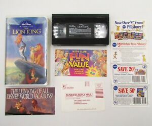 The Lion King VHS Original Disney Cassette Tape with Ad & Merchandise Papers
