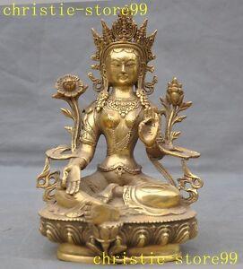 Tibet temple brass Green Tara Kwan-Yin Guanyin Bodhisattva buddha goddess statue