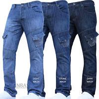 New Crosshatch Combat Jeans Cargo Denim Work Tough Darkwash Pants Trousers Waist