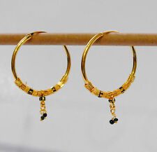 """Stunning 22k Yellow & white """"Gold Plated Small Hoop Earrings.30mm Indian Style"""