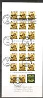 US SC # 2949a LOVE Complete Booklet FDC. No Cachet  # 10 Envelope
