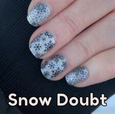Color Street SNOW DOUBT (Silver Holographic Glitter Black Snowflakes Winter)