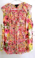 Apostrophe Floral Shirt Blouse Sleeveless Sheer V Neck Ruffle Collar  Size 20W