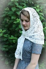 Evintage Veils~ Our Lady of Fatima Soft White Lace Chapel Veil Mantilla