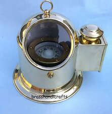Vintage Brass Binnacle Compass Boat Compass w/ Oil Lamp Nautical Repro Compass