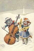 CHRISTMAS, CATS, THIELE, MUSIC, PLAYING CELLO AND CYMBALS, FRIDGE MAGNET